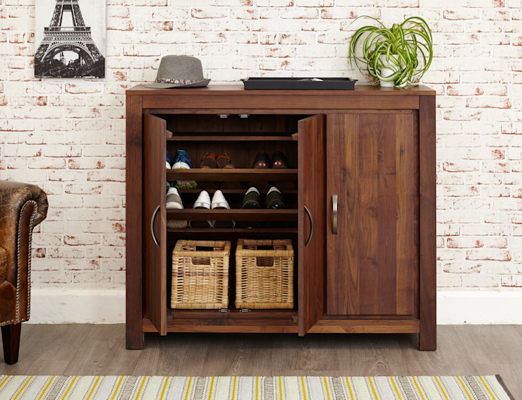 Solid Walnut Shoe Cabinet from our Mayan Range Big Blu Furniture Couloir, entrée, escaliersBibliothèques Bois massif Marron
