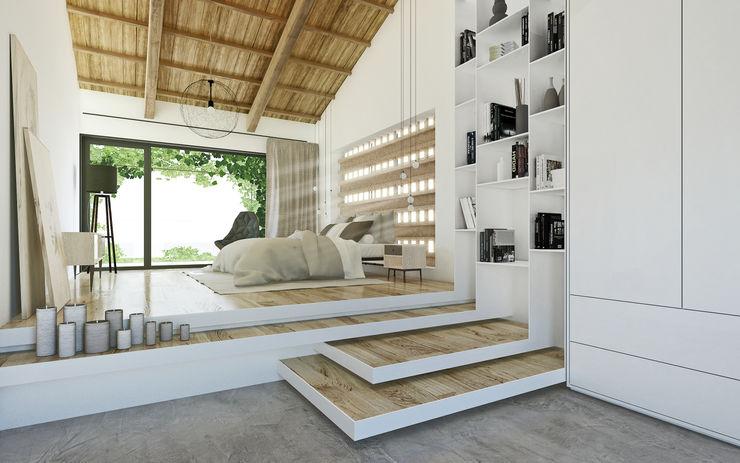 DFG Architetti Associati Cuartos de estilo mediterráneo Madera Acabado en madera