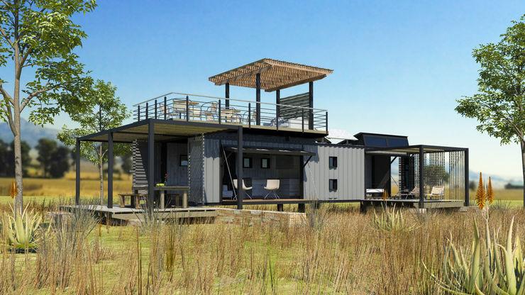 Edge Design Studio Architects Industrial style garden Grey