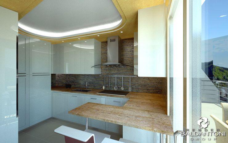 Attico 128_A - Progetto appartamento in vendita a Campione d'Italia sul Lago di Lugano (Svizzera) Baldantoni Group Cucina moderna