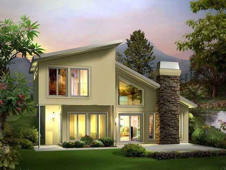 The modern green house homify 現代房屋設計點子、靈感 & 圖片