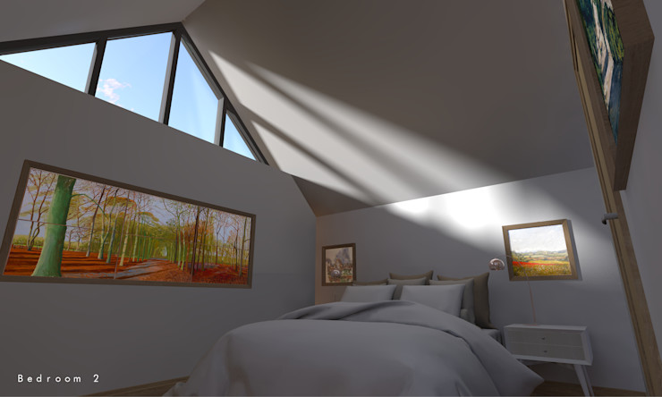 The first floor guest bedroom with feature gable window Samuel Kendall Associates Limited