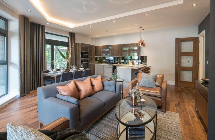 Musewll Hill, London Jigsaw Interior Architecture غرفة المعيشة النحاس / برونزية / نحاس Amber/Gold
