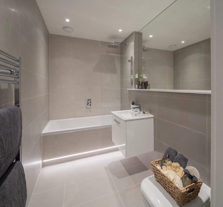 Station Rd, New Barnet Jigsaw Interior Architecture Ванна кімната Бежевий