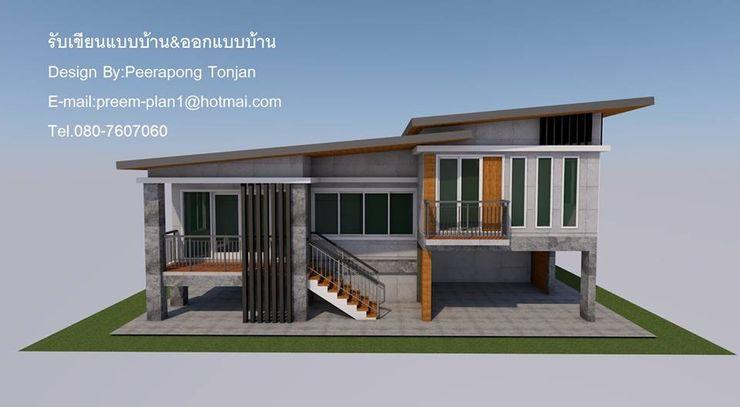 บ้าน1ชั้น ยกสูง รับเขียนแบบบ้าน&ออกแบบบ้าน บ้านและที่อยู่อาศัย คอนกรีต