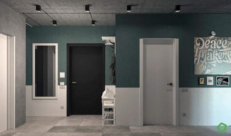 Polygon arch&des Pasillos, vestíbulos y escaleras de estilo minimalista Verde