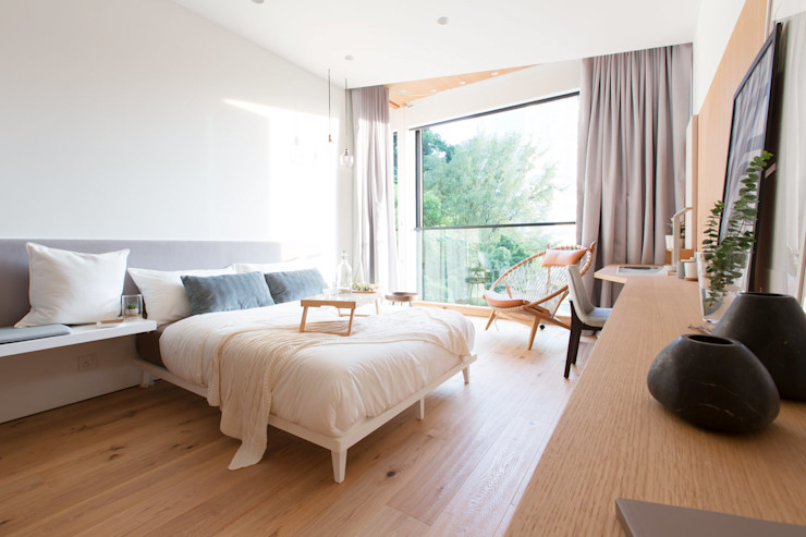 Sensearchitects Limited Dormitorios de estilo moderno Madera Acabado en madera