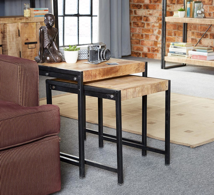 Cosmo Cart Industrial Table Nest Industasia Living roomSide tables & trays