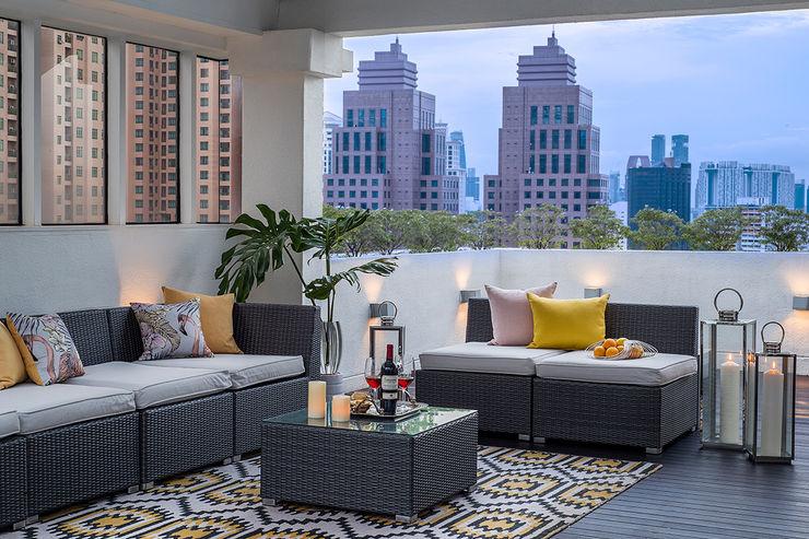 Design Intervention Modern style balcony, porch & terrace