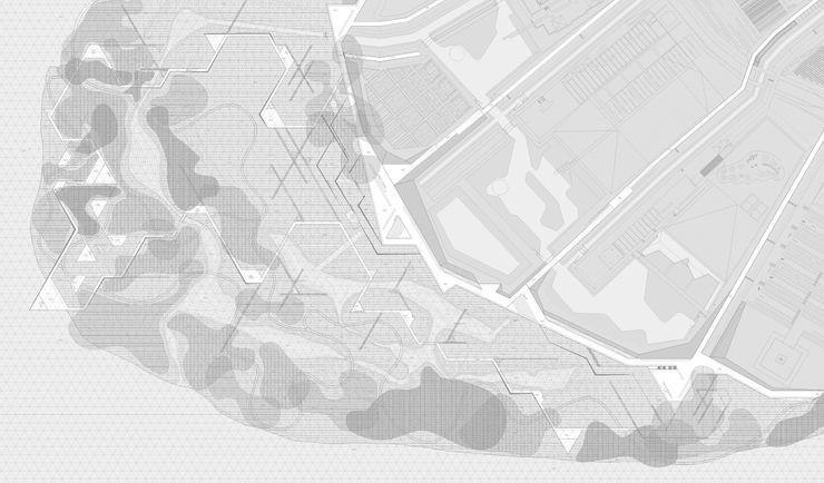 PLANTA DE ENTORNO ZEBRA LAB ARQUITECTURA Jardines de estilo moderno