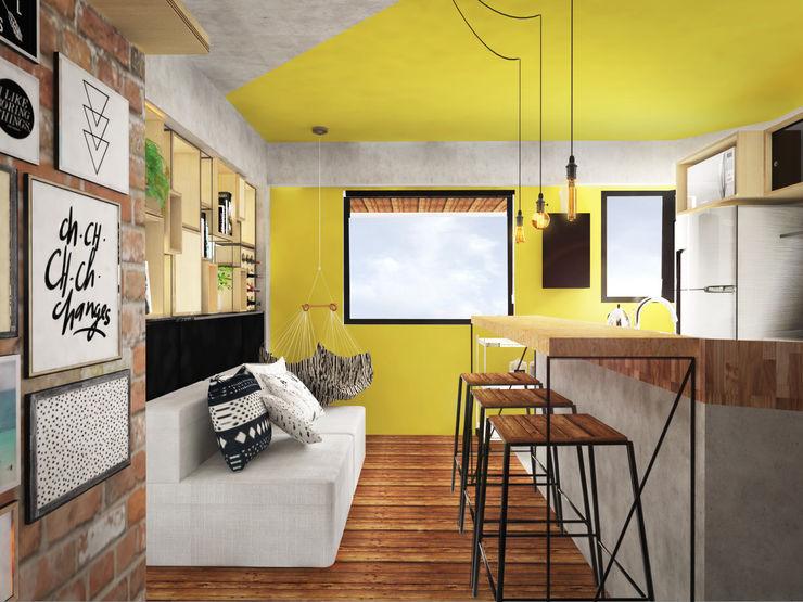 Loft do Músico Andressa Cobucci Estúdio Salas de estar industriais Madeira Amarelo