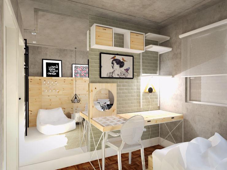 Andressa Cobucci Estúdio Dormitorios de estilo escandinavo Azulejos Gris