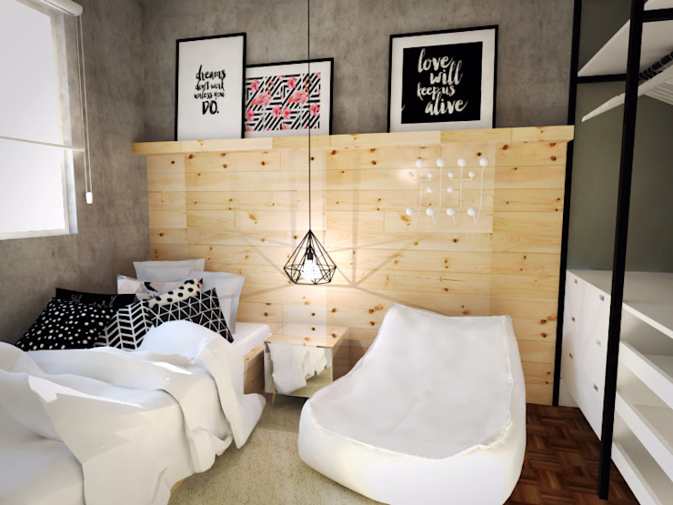 Andressa Cobucci Estúdio Dormitorios de estilo escandinavo Madera Gris