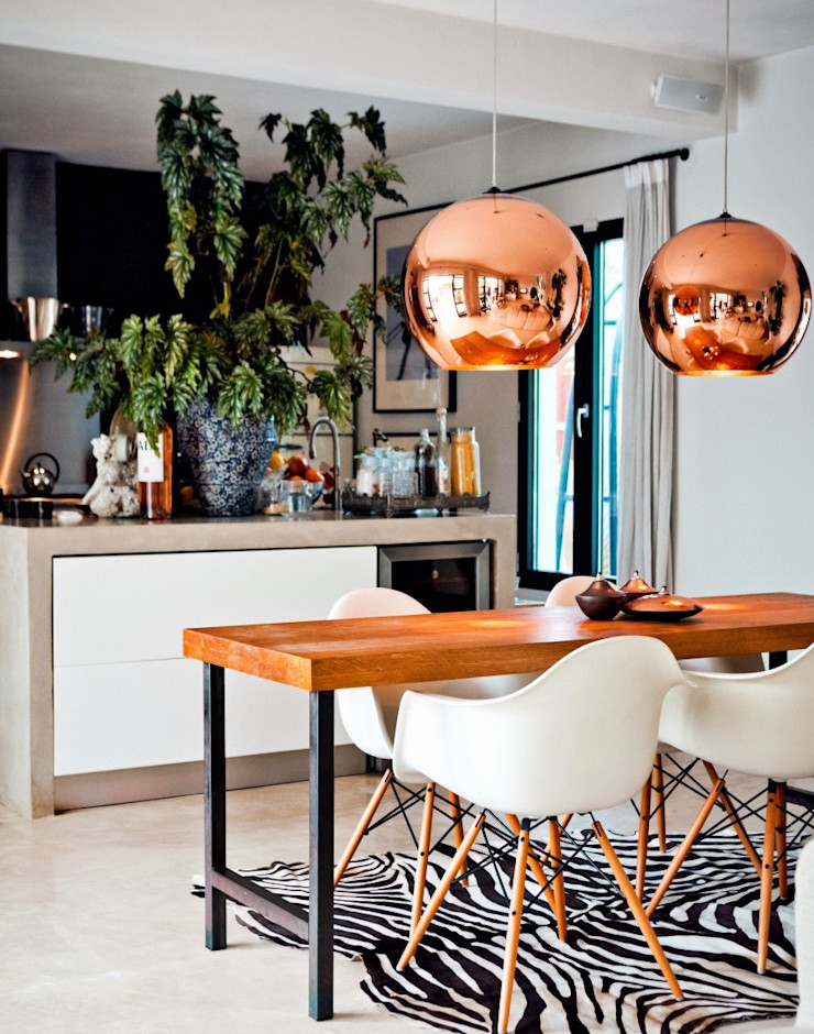 Copper Focused Kitchen/Dining Space Gracious Luxury Interiors Mediterranean style kitchen Multicolored