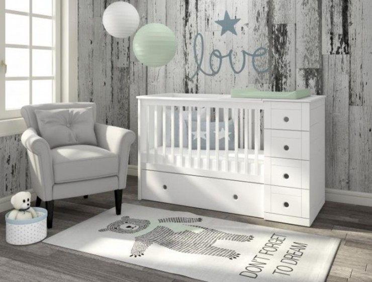 3 in 1 Cot bed homify Baby room Wood White