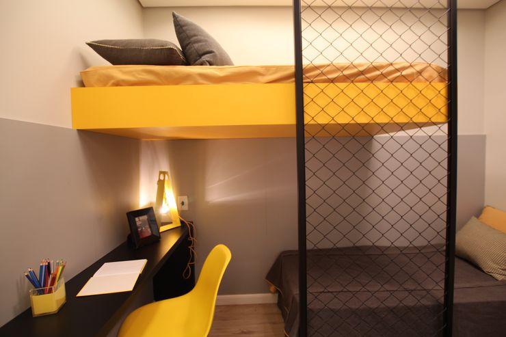 Quarto para 2 crianças Pricila Dalzochio Arquitetura e Interiores Quarto infantil moderno Amarelo