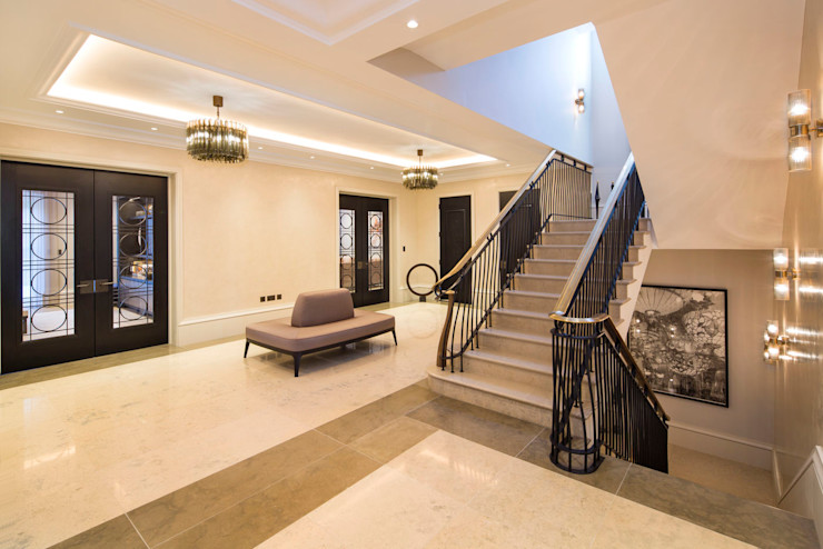 Hallway KSR Architects Classic style corridor, hallway and stairs Limestone Beige