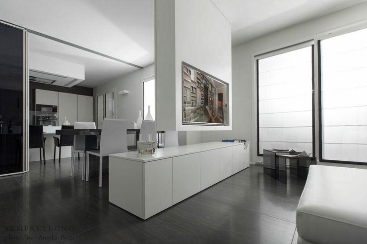 Mobile TV con integrazione domotica fatto su misura e arredi per soggiorno di design Falegnameria Lissone Semprelegno Soggiorno minimalista
