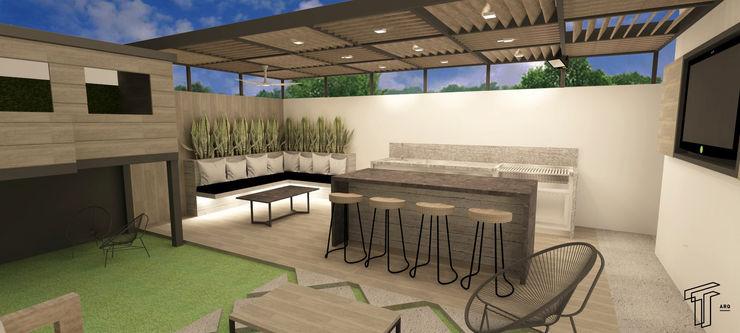 TAMEN arquitectura Modern balcony, veranda & terrace