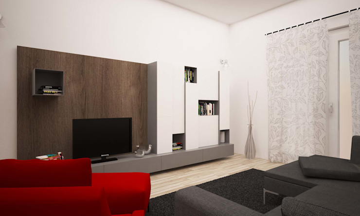 LAB16 architettura&design Ruang Keluarga Gaya Industrial