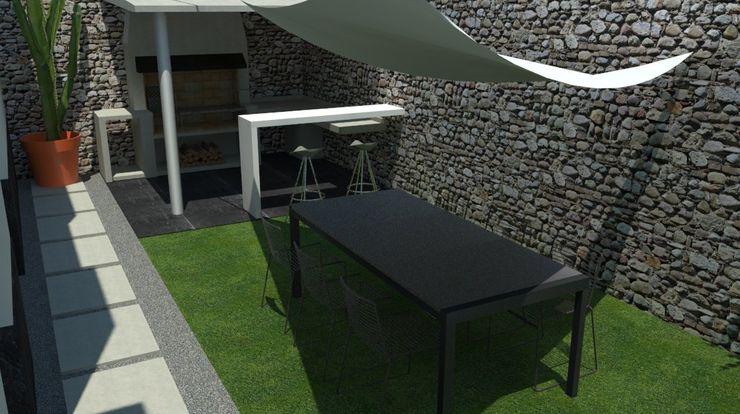 Patio con barbacoa EMS interiorismo Jardines de estilo moderno Concreto Verde