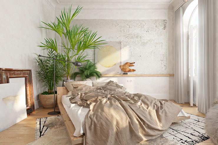 Вид на кровать. Дневное освещение. Анна Морозова Спальня в эклектичном стиле Белый