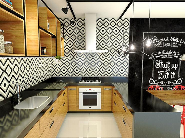 Bruna Rodrigues Designer de Interiores Cocinas de estilo industrial Madera Negro