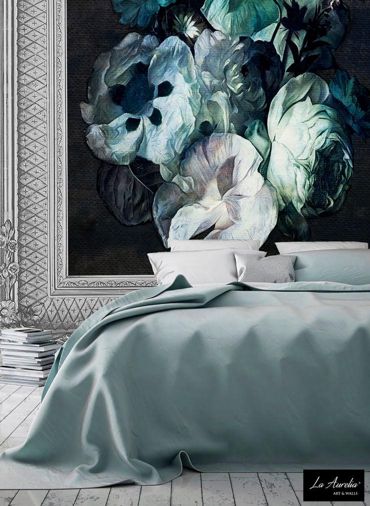 Fleur -Framed- Wallpaper La Aurelia Walls & flooringWallpaper Turquoise