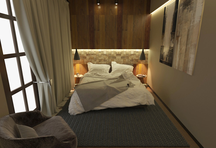 homify Modern style bedroom Wood Amber/Gold