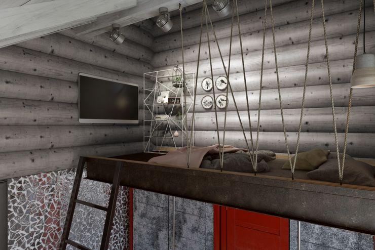 Кровать-чердак Дизайн студия Алёны Чекалиной Спальня в стиле лофт