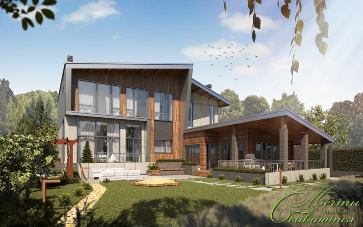 Шале с элементами деконструктивизма Компания архитекторов Латышевых 'Мечты сбываются' Дома в стиле кантри