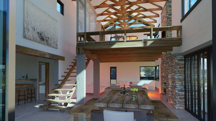 Edge Design Studio Architects Phòng ăn phong cách đồng quê Gỗ Brown