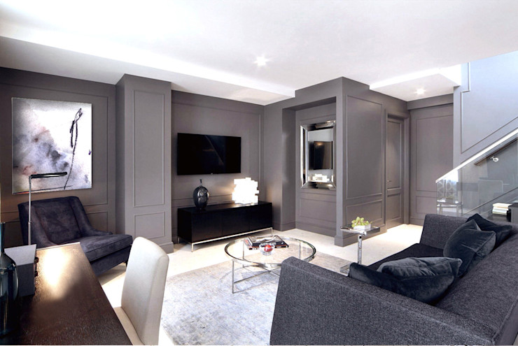 Penthouse New York Joe Ginsberg Design Modern Living Room Grey