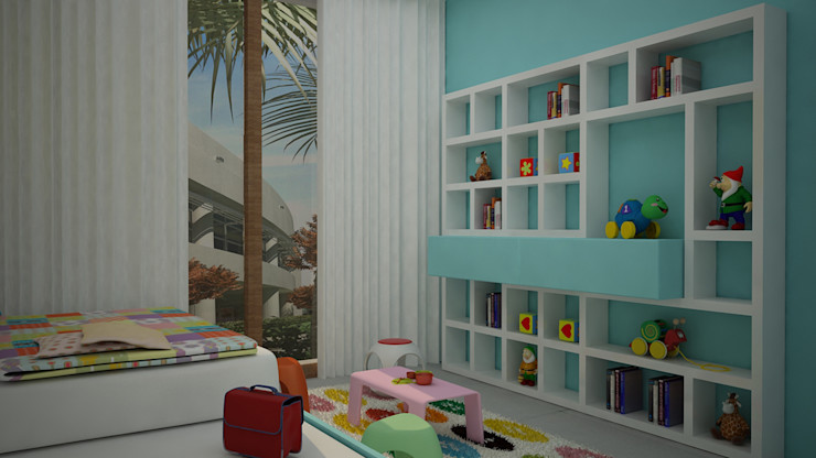 homify Modern nursery/kids room MDF Turquoise