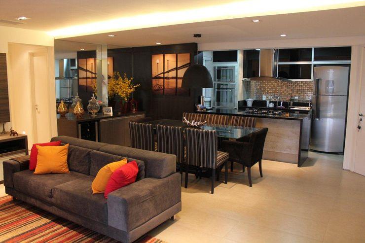 Camila Giongo Arquitetas Associadas - Decoração de Interiores ME Modern Oturma Odası Seramik Gri