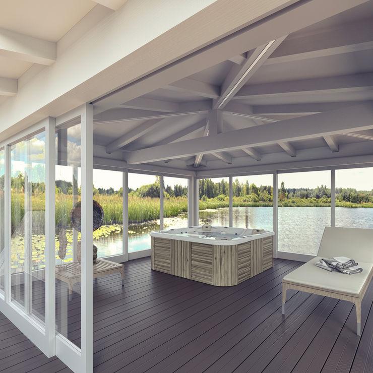 Gazebo Cosmo mod. Luxury Verdebano ASC F.lli Saramin & Co. s.n.c. Spa in stile asiatico Legno composito Bianco