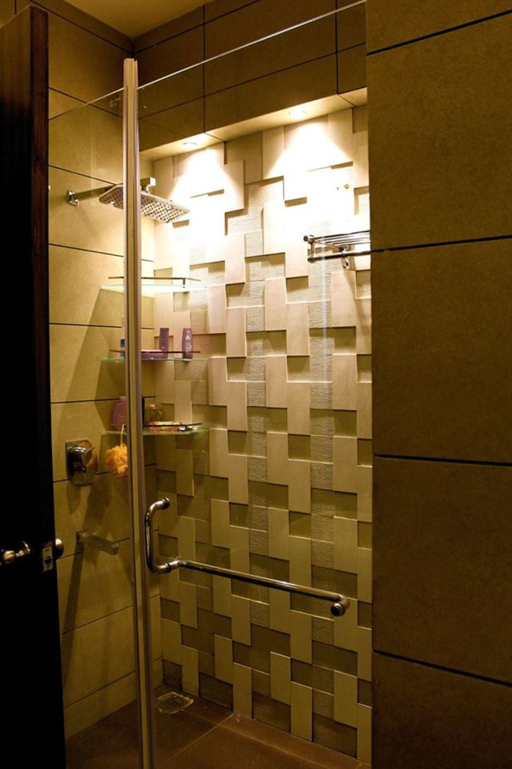 RESIDENCE : AMRITSAR TULI ARCHITECTS AND ENGINEERS Modern Bathroom Tiles Amber/Gold