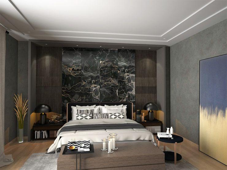 Murat Aksel Architecture Chambre moderne Marbre Effet bois