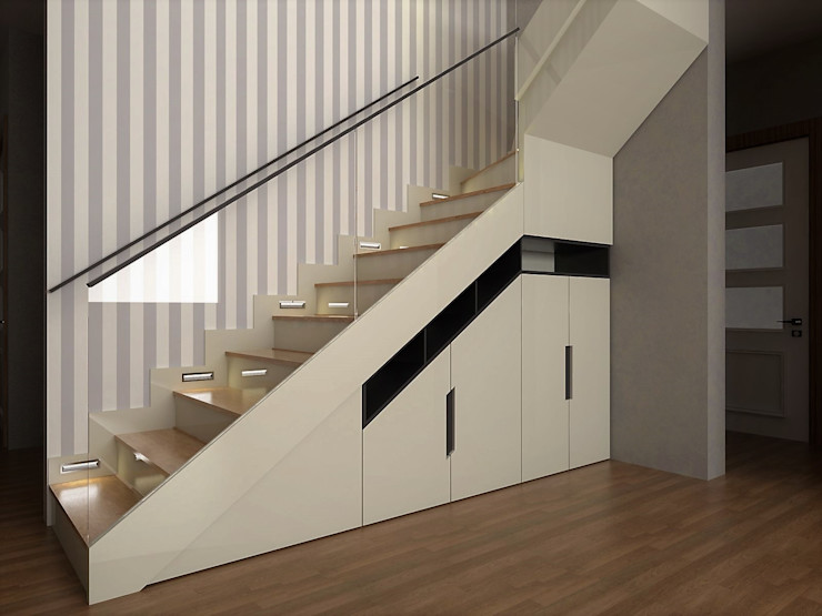 Murat Aksel Architecture Modern Corridor, Hallway and Staircase Wood White