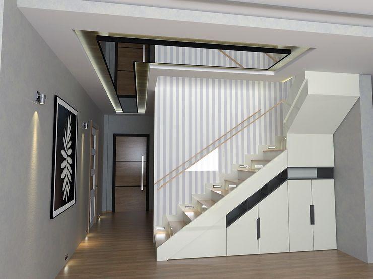 Murat Aksel Architecture Couloir, entrée, escaliers modernes Bois Blanc