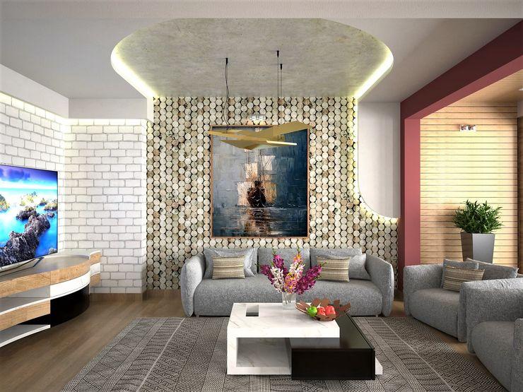 Murat Aksel Architecture Salon moderne Pierre Beige