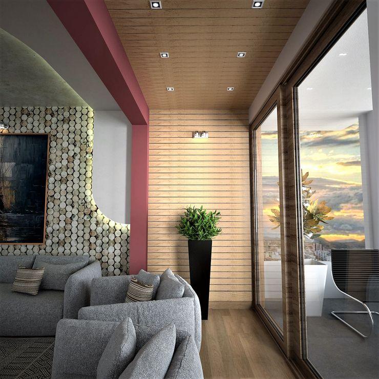 Murat Aksel Architecture Salon moderne Bois Effet bois