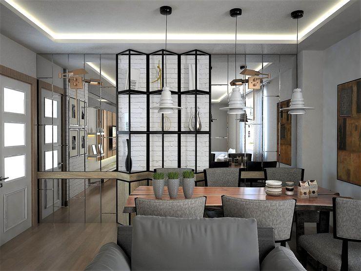 Murat Aksel Architecture Salon minimaliste Fer / Acier Transparent