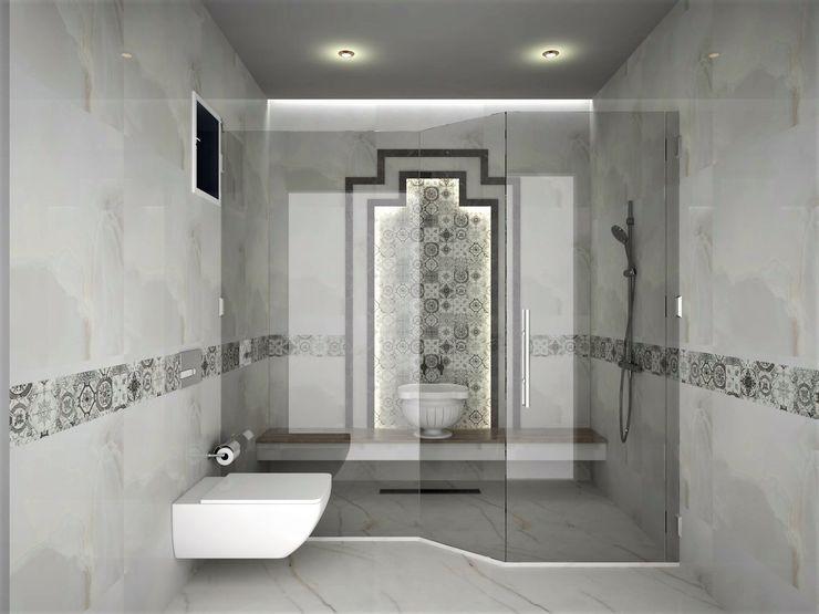 Murat Aksel Architecture Salle de bain scandinave Marbre Blanc