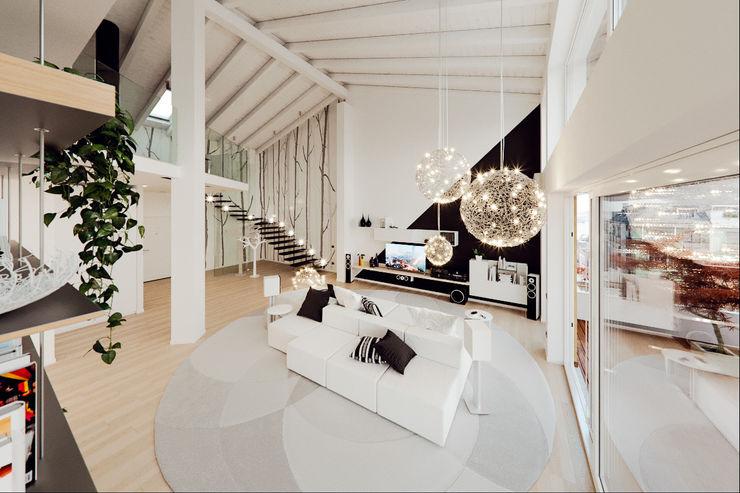 Un attico in stile loft in Milano Annalisa Carli Soggiorno moderno
