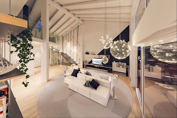 Un attico in stile loft in Milano Annalisa Carli Soggiorno moderno Legno Bianco