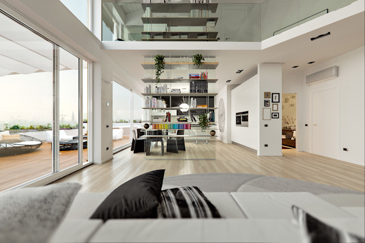 Un attico in stile loft in Milano Annalisa Carli Soggiorno moderno Legno massello Bianco