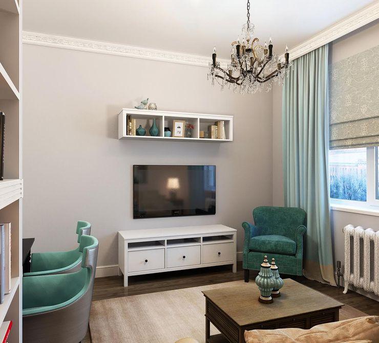 Massimos / cтудия дизайна интерьера Living room Wood Turquoise