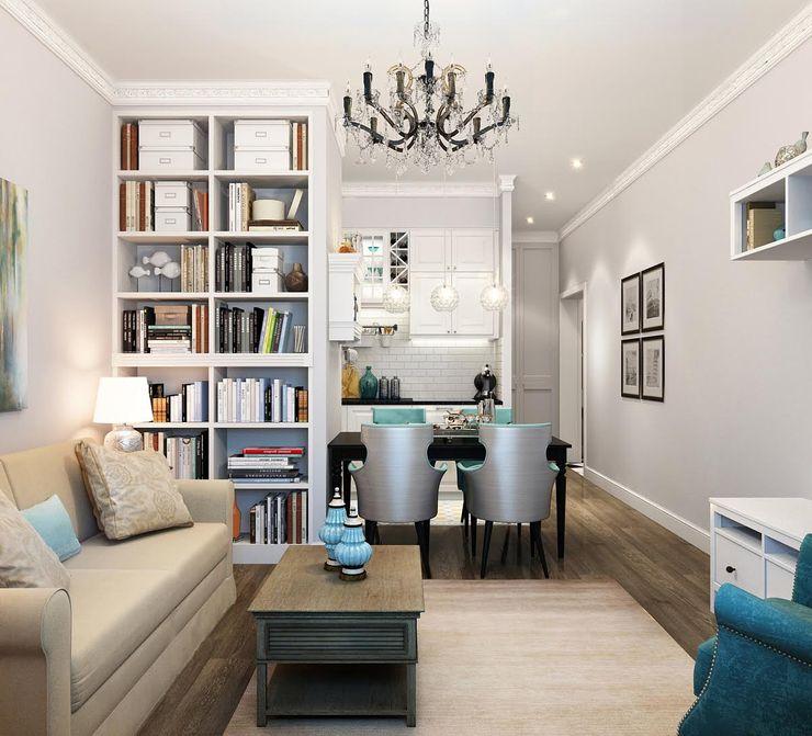 Massimos / cтудия дизайна интерьера Living room Wood Grey