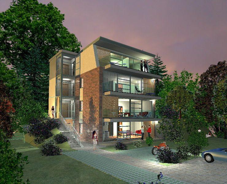 Süd- Westansicht als Rendering Architekt Witte Moderne Häuser Ziegel Mehrfarbig